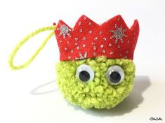 Christmas Sprout Pom Pom Decoration Light Green with Red Glitter Party Hat, Tree Decoration, Tree Ornament, Xmas Sprout, Pom Pom Decoration
