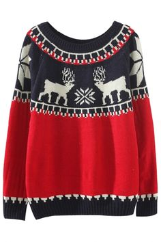 #Cute #Deer Print Color-Blocked #Sweater - OASAP.com •.❤ Christmas Holiday Gift Ideas from $2.9