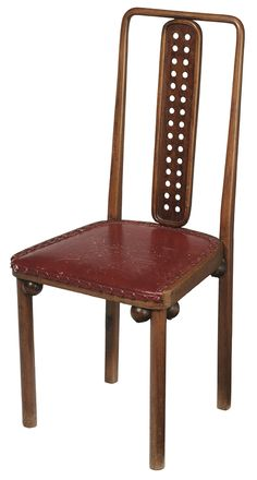 Important Secessionist Bentwood and Leather-Upholstered Side Chair designed by Josef Hoffmann - Sold for $30,680 at Brunk Auctions