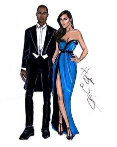 Kanye West and his fiance Kim Kardashian in their Met Ball Lanvin finery, by British artist Hayden Williams