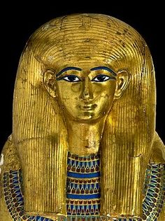Detail of the innermost coffin of Yuya, from tomb KV 46 of Yuya and Tuya, parents of Queen Tiya, in the Valley of the Kings at Luxor. Although we do not know with certainty where Yuya came from, many scholars suggest that he is from Akhmim a well-known city of Upper Egypt. When his tomb was found in the Valley of the Kings, his mummy was inside a golden coffin made of wood, gold and silver leaf, glass paste, alabaster and carnelian.
