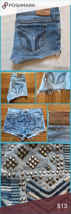 Studded Hollister Shorts Size 00/23 awesome, studded and cuffed shorts from Hollister. Studs are falling off here and there but it's nots very noticeable- please see close up photo. •I'm open to offers and negotiations on all items!• Hollister Shorts Jean Shorts