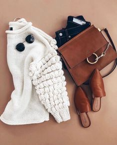 casual warm winter outfit ideas sweater style #fashion