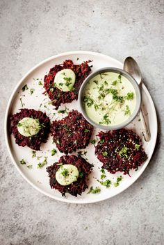 Beet Fritters with Garlic Herb Cashew Cream Sauce - Dishing Up the Dirt