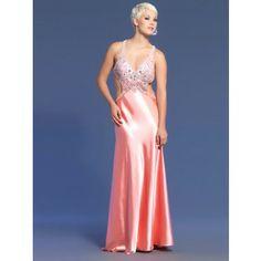 Sexy Abendkleider rückenfrei Satin Pink lang mit Schleppe Abendkleider  Rückenfrei, Lachs, Tiefer Ausschnitt, 666933b0f9