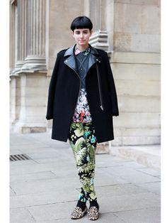 Florals on a chillier day at PFW