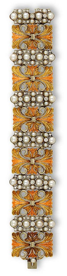 An eighteen karat tricolor gold, cultured pearl and diamond bracelet, Buccellati the wide bracelet comprising six openwork tricolor-gold panels, each with cultured pearl, single and round brilliant-cut diamond elongated cluster spacers; signed Buccellati; estimated total diamond weight: 3.50 carats; length: 7in. http://www.bonhams.com/auctions/18259/lot/8/