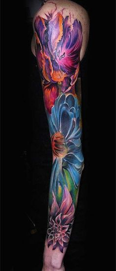 Gorgeous Floral Sleeve Tattoo – Love the vivid colors