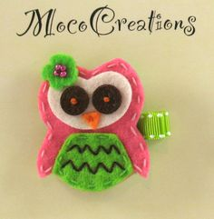 Adorable Green and  Pink  Felt Hoot Owl Hair Clip by mococreations, $3.75