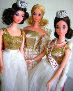 1970s Barbies: MISS AMERICA BARBIE ~ Walk Lively 1972, Quick Curl blonde 1974, Quick Curl brunette 1973.
