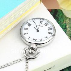10pcs  Antique White Dial Quartz Round Pocket Watch Necklace silver Chain Pendant Worldwide FreeShipping