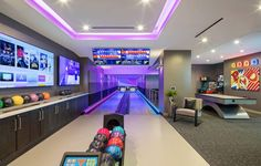 Home Bowling Alley Photos & Amenity Bowling Lane Gallery – Game Room İdeas 2020 Home Bowling Alley, Arcade Room, High Rise Apartments, Luxury Homes Dream Houses, Villa, Treatment Rooms, My Dream Home, Game Room, Architecture