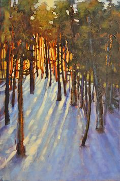 Sombras de Inverno. Artista: Linda Wilder. Acrílico sobre tela.   http://www.bestlandscapepaintings.com/