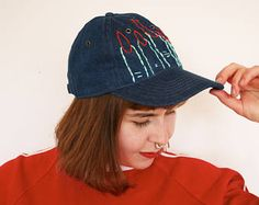 Hand embroidered second hand denim baseball cap by Pimped Rägs Denim Baseball Cap, Baseball Hats, Two Hands, Shirts, Shopping, Clothes, Black, Fashion, Outfits