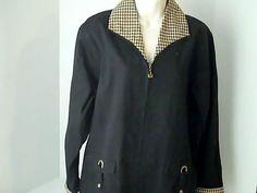 LONGABERGER Womens L Black Coat Jacket 100% Cotton Baskets #LONGABERGER #BasicCoat