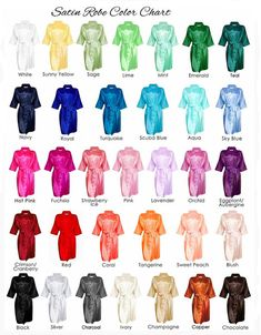 Satin Monogrammed Bridesmaid Robes in 30+ colors! www.helloDRMR.com