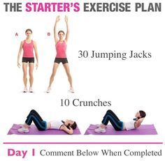Starters Exercise Plan Day 1