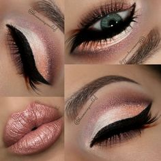 Rose Gold/peach eye and lip makeup - looks good especially with green eyes