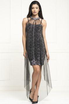 OVER MINI irony strapless long black chiffon dress