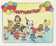 "Happy New Years from the Peanuts Gang! Detail from the book, ""Happy New Year, Charlie Brown! Snoopy Happy New Year, Happy New Years Eve, Happy New Year Quotes, Happy New Year Greetings, Quotes About New Year, Happy Year, Charlie Brown Snoopy, Charlie Brown Christmas, Snoopy Wallpaper"