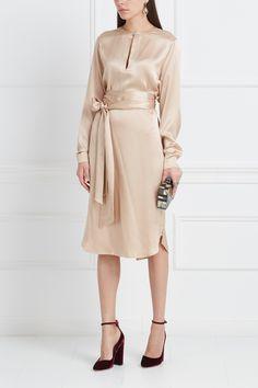 Шелковое платье Alexander Terekhov - Элегантное минималистичное платье прямого кроя из коллекций российской марки Alexander Terekhov в интернет-магазине модной дизайнерской и брендовой одежды