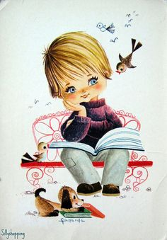 Big Eyed Vintage - Boy with book