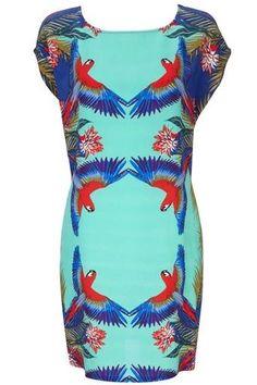 663cdb70cac Details about Wallis women s parrot bird summer Hawaiian tropical print  shift dress size 10