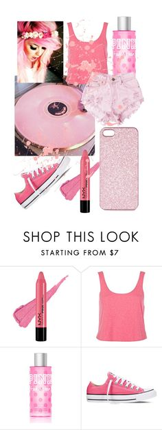 """""""On Wednesdays we wear pink"""" by madelynnlove ❤ liked on Polyvore featuring River Island, Victoria's Secret PINK, Levi's, Converse and Topshop"""