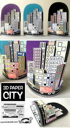 PAPER CITY (krokotak) - PAPER CITY (krokotak) - - This simple paper bag craft makes sweet paper houses that will lead to hours of creative play! Middle School Art, Art School, High School, School Kids, Arte Elemental, Classe D'art, 4th Grade Art, Ecole Art, School Art Projects