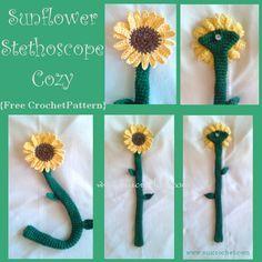 Sunflower Stethoscope Cozy {Free Crochet Pattern}