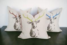 Printed Deer Head Pillow Covers