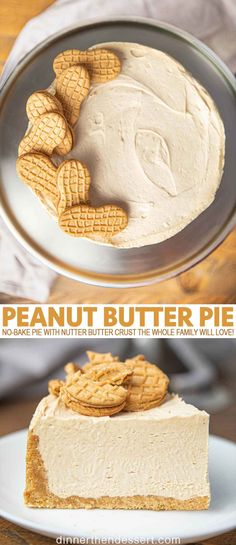Peanut Butter Pie is an easy no-bake pie with nutter butter crust and fluffy whipped peanut butter and cream cheese filling your whole family will LOVE! butter Desserts Peanut Butter Pie (w/ Nutter Butter Crust!) - Dinner, then Dessert Mini Desserts, No Bake Desserts, Easy Desserts, Delicious Desserts, Classic Desserts, Apple Desserts, Summer Desserts, Plated Desserts, Healthy Desserts