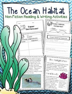 Ocean Habitat CCSS nonfiction informational text language arts and science unit - great unit for integrating science and language arts that meets new common core standards. Used in my classroom and I love it!