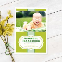 Announce the arrival of your new bundle of joy with this two-sided photo card.
