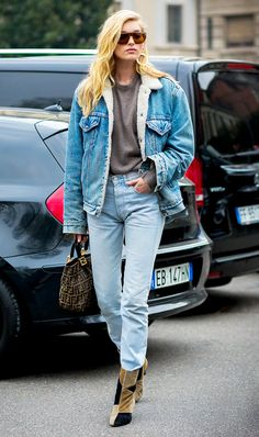 Parisienne: Denim-and-shearling jackets