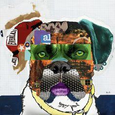 ROCKY - Boxer Dog Art Collage