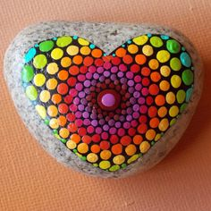 Heart Mandala Stone Dot Mandala Painted Stone Naturally