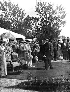 President of the French Republic, Raymond Poincare on a state visit to Russia; In the picture he is being received by the Tsar Nicholas II and his wife Alexandra Feodorovna in Krasnoye Selo - 1914