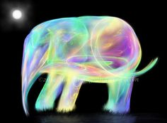 Neon Elephant - Digital/Fractal Fantasy Art