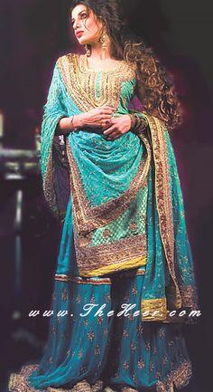 BW6838 Tiffany Blue Crinkle Chiffon Gharara Online Sharara Collection, Exclusive Indian Sharara Choli, Sharara Suits, Designer Indian Sharara Bridal Wear