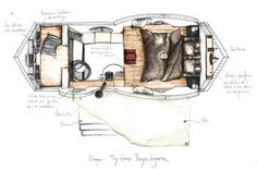 La construction - La Maison Qui Chemine - Tiny Houses. Cabin, small house movement, made in France, dessin, plan, légendé, couleurs, TinyHouse, Schéma, vue de dessus, pencil, sketch, vosges, wood, woodhouse, interior, interiordesign, fine interiors, tinyhomes, compact living, design, architecture, decoration, home sweet home, cabin, chalet