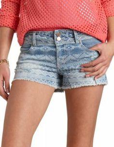 distressed tribal print denim shorts