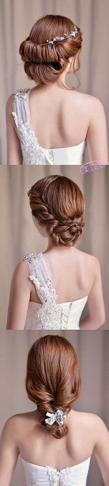 an elegant, yet casual updo for wedding hair, different would suit any bride.