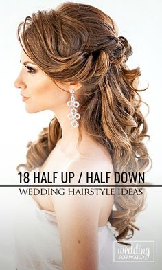 to the side half up half down hair bridal - Bing images wedding and engagement h. wedding engagement hairstyles 2019 - wedding and engagement 2019 Vintage Wedding Hair, Wedding Hair Down, Wedding Hair And Makeup, Engagement Hairstyles, Bride Hairstyles, Hairstyle Look, Pretty Hairstyles, Bridesmaid Hair, Prom Hair