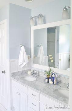 Bathroom, light colors would brighten up a dark bathroom