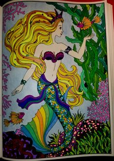 colored with markers, gel pens and color pencil Mermaid Coloring Book, Coloring Book Art, Coloring Pages, Mermaid Drawings, Mermaid Art, Mermaid Pictures, Z Arts, Pen Art, Gel Pens