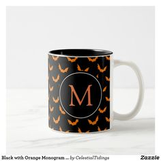 Black with Orange Monogram Halloween Bats Two-Tone Coffee Mug - holidays diy custom design cyo holiday family Monogram Design, Monogram Styles, Halloween Cups, Diy Halloween Decorations, Monogram Gifts, Custom Mugs, Home Gifts, Fall Decor, Coffee Mugs