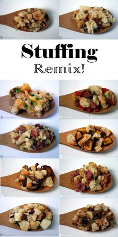 10 different variations to your traditional Thanksgiving stuffing or dressing. Spice up your Thanksgiving side dish recipes with this Stuffing Remix! From TheGraciousWife.com #Thanksgiving #sidedishes