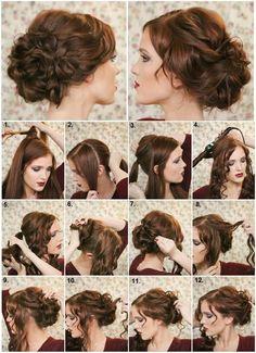 Comment faire un chignon chic - Coiffure bricolage - Art Design Fancy Hairstyles, Wedding Hairstyles, Style Hairstyle, Hairstyle Ideas, Curled Updo Hairstyles, 1800s Hairstyles, Hairstyle Pictures, Party Hairstyle, Victorian Hairstyles
