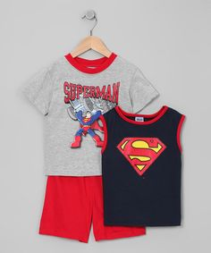Take a look at this Navy Superman Tank Set - Toddler & Boys by Kids With Character on #zulily today!